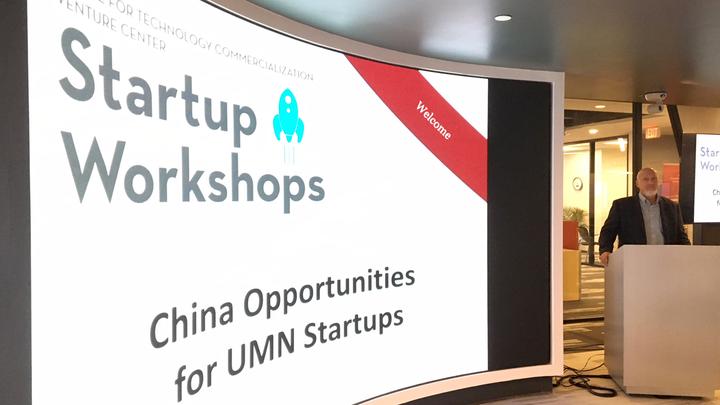 Presentation cover slide: Startup Workshops, China Opportunities for UMN Startups